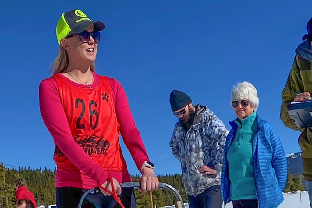 Kristin Ullrich at start of dog sled race