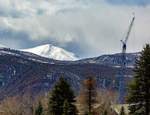 Mid-Roaring Fork Valley Developments, Engel & Völkers Real Estate, Crane In Front of Mt. Sopris, Photo by Tenley Steinke