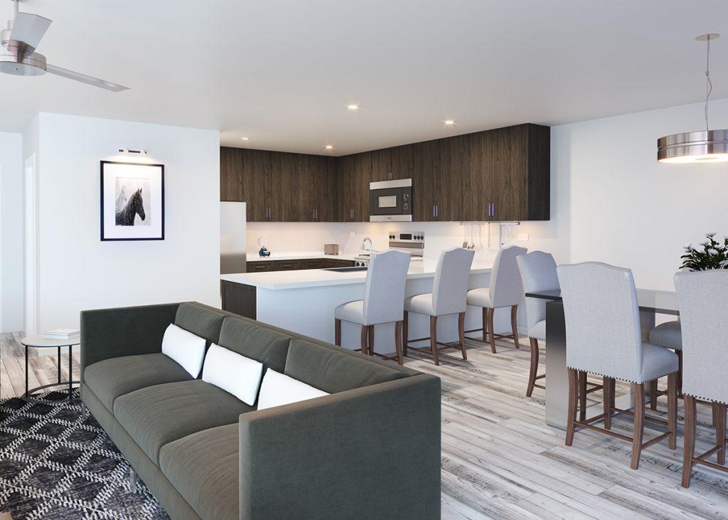 Carbondale's Thompson Park Development, Rendering of Kitchen: New Housing Developments in Colorado Engel & Völkers Real Estate
